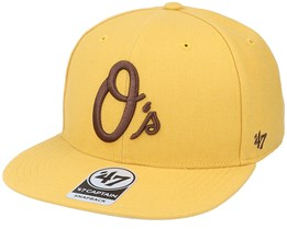 Baltimore Orioles No Shot Captain Wheat/Brown Snapback - 47 Brand