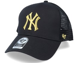 New York Yankees Branson Metallic Mvp Black/Gold Trucker - 47 Brand
