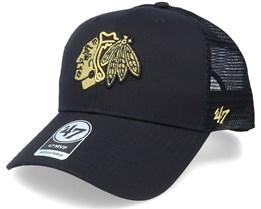 Chicago Blackhawks Branson Metallic Mvp Black/Gold Trucker - 47 Brand