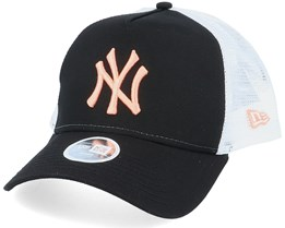 New York Yankees Womens League Essential Black/White/Pink Trucker - New Era