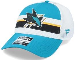 San Jose Sharks Authentic Pro Draft Petrol Blue/White Trucker - Fanatics