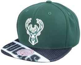 Milwaukee Bucks Slash Century Green/Black Snapback - Mitchell & Ness