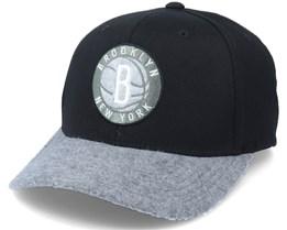 Brooklyn Nets Greytone Fleece Black/Heather Grey Adjustable - Mitchell & Ness