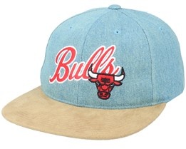 Chicago Bulls Denim Script Deadstock Denim/Suede Snapback - Mitchell & Ness