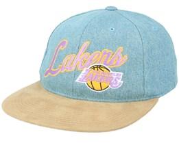 LA Lakers Denim Script Deadstock Denim/Suede Snapback - Mitchell & Ness