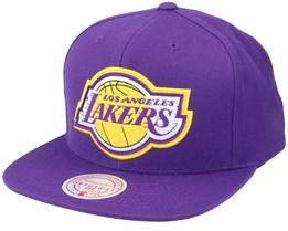 Los Angeles Lakers Pop Back Purple Snapback - Mitchell & Ness