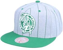 Boston Celtics Grey Pin Pop Heather Grey Snapback - Mitchell & Ness