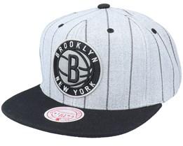 Brooklyn Nets Grey Pin Pop Heather Grey Snapback - Mitchell & Ness