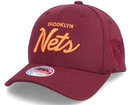 Brooklyn Nets Deep Dark Red Adjustable - Mitchell & Ness