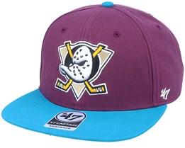 Anaheim Ducks Captain No Shot Two Tone Plum/Teal Snapback - 47 Brand