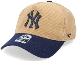 New York Yankees Corduroy Mvp DT Khaki/Navy Adjustable - 47 Brand