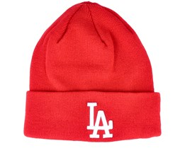 Los Angeles Dodgers Womens League Essential Knit Red/White Cuff - New Era