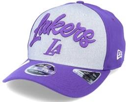 LA Lakers NBA 20 Draft 9Fifty Stretch Snap Grey/Purple Adjustable - New Era