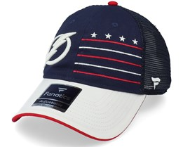 Tampa Bay Lightning Waving Flag Athl Navy Trucker - Fanatics