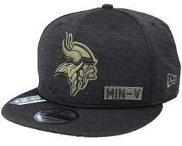 Minnesota Vikings Salute To Service NFL 20 Heather Black Snapback - New Era