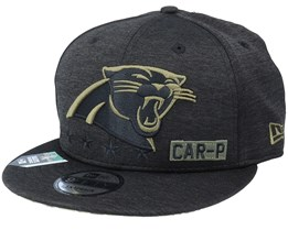 Carolina Panthers Salute To Service NFL 20 Heather Black Snapback - New Era