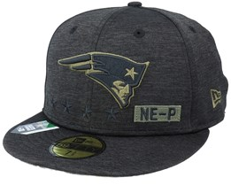 New England Patriots Salute To Service NFL 20 Heather Black Fitted - New Era
