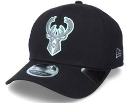 Milwaukee Bucks Neon Pop Outline 9Fifty Black Adjustable - New Era