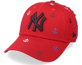 Kids New York Yankees Chyt All Over Graphic 9FORTY Scarlet Adjustable - New Era