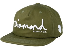 Og Script Unstructured Olive Snapback - Diamond