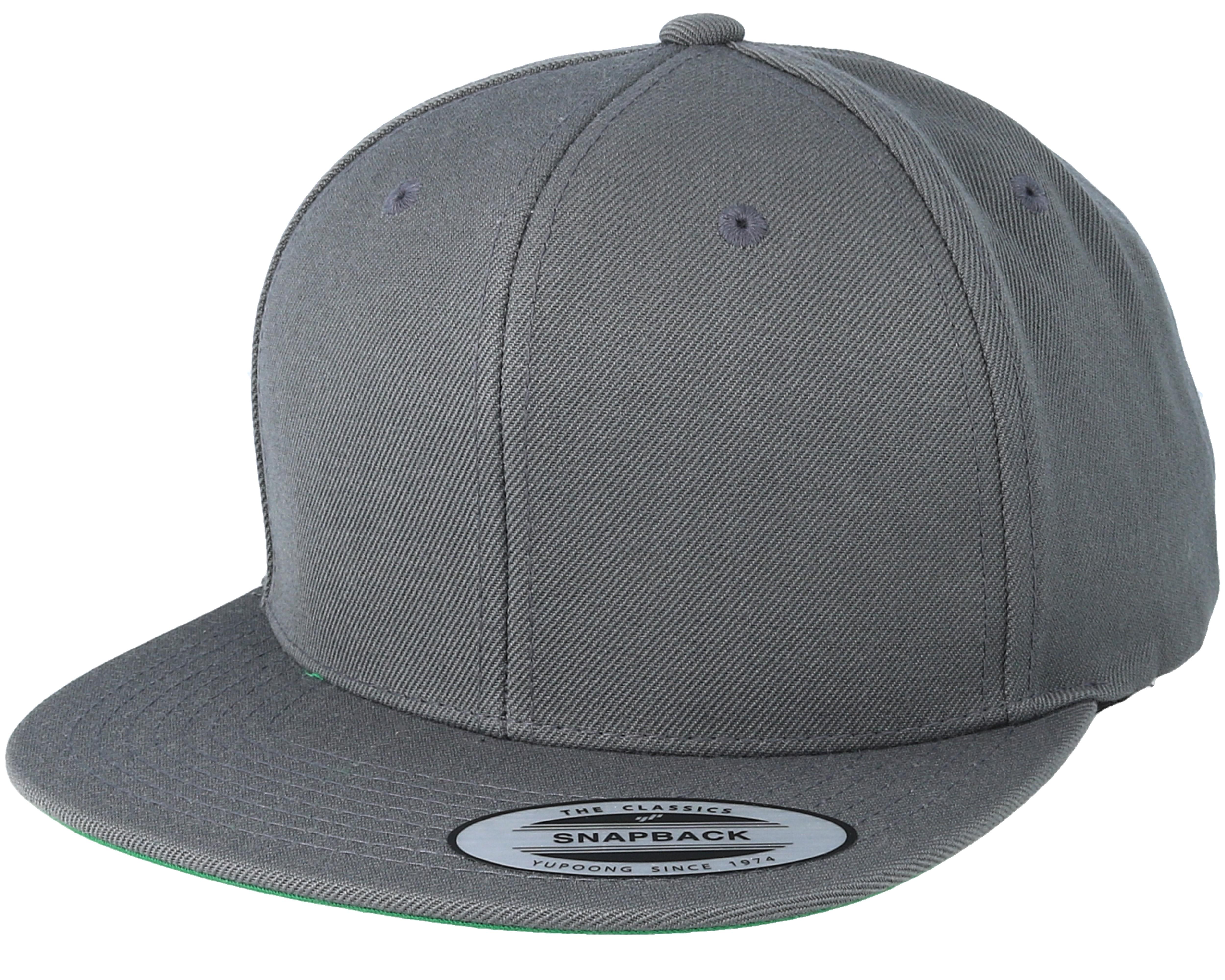 Dark Grey Snapback Yupoong Caps Hatstore Co Uk
