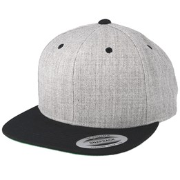 f43a81152df Yupoong Heather Grey Black Snapback - Yupoong AU  29.99