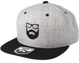 Two Tone Logo Heather Grey/Black Snapback - Bearded Man