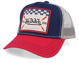 Live Fast California Square Patch Navy/Red/Beige Trucker - Von Dutch