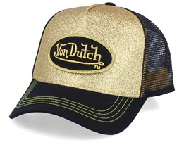 Oval Patch Glitter Gold/Black Trucker - Von Dutch