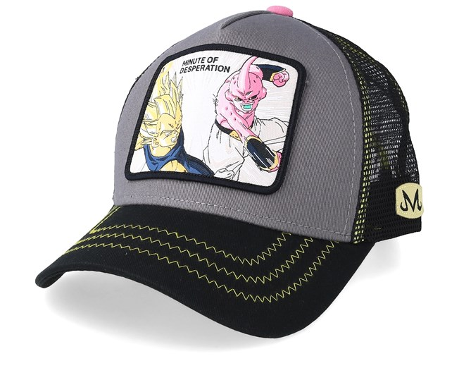 wholesale dealer d17a0 00924 Dragon Ball Minute Of Desperation Vegeta VS Kid Buu Charcoal Black Pink  Trucker - Capslab