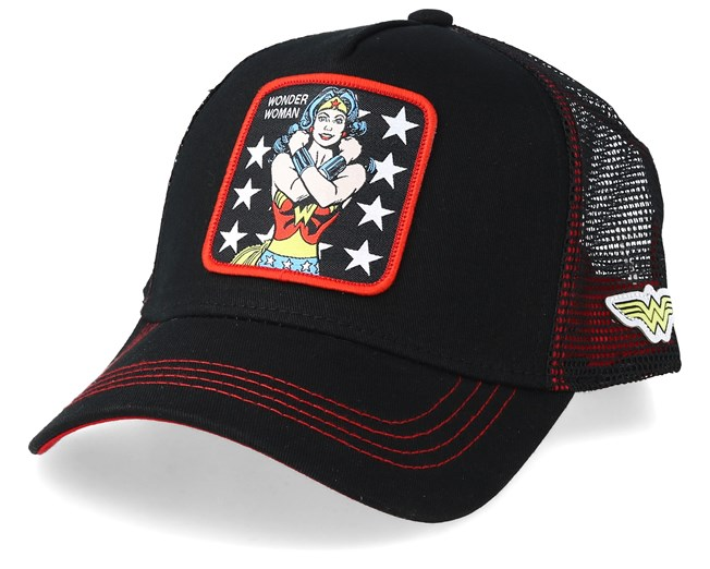 DC Comics Wonder Woman Black/Black/Red Trucker - Capslab