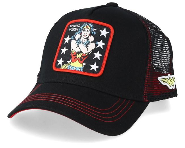 DC Comics Wonder Woman Black/Black/Red Trucker - Capslab