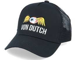 Flying Eye Patch Black/Black Trucker - Von Dutch