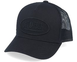 Kids Oval Patch Baseball Mesh Black/Black Trucker - Von Dutch