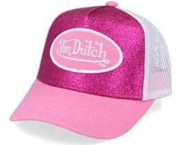 Oval Patch Glitter Pink/White Trucker - Von Dutch