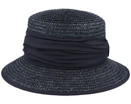 Cloche In Straw Braid Black Straw Hat - Seeberger