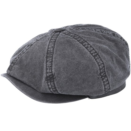 Keps Hatteras Delave Organic Cotton Grey Flat Cap - Stetson - Grå Flat Caps