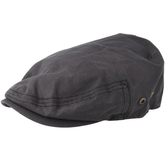Keps Driver Cap Waxed Cotton Black Flat Cap- Stetson - Svart Flat Caps