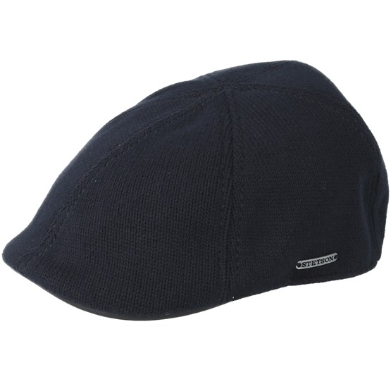 12f6f1d6d Texas Cotton Knit Black Flat Cap - Stetson
