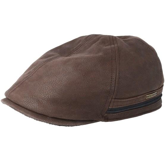 Keps Duck Cap Cowhide Dark Brown Flat Cap - Stetson - Brun Flat Caps