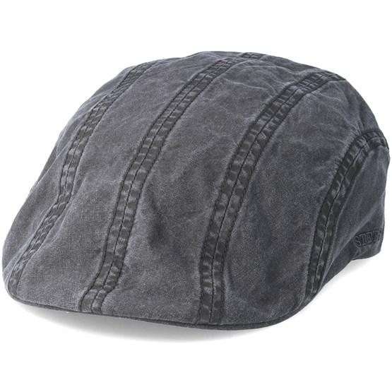 Keps Ivy Delave Organic Cotton Washed Black Flatcap - Stetson - Svart Flat Caps