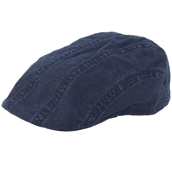 Keps Ivy Cap Delave Organic Cotton Navy Flat Cap - Stetson - Blå Flat Caps