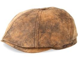 6-Panel Pigskin Brown Flat Cap - Stetson