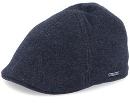 Texas Wool/Cashmere Ear Flap 2 Black Flat Cap - Stetson
