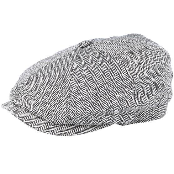 Keps Hatteras Silk Black/White Flat Cap - Stetson - Grå Flat Caps