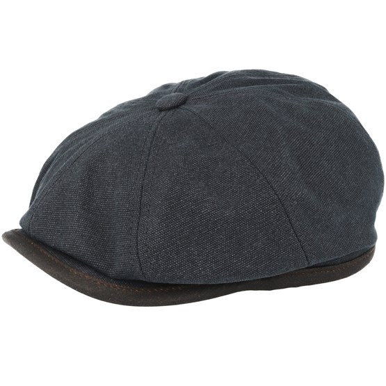 Keps Hatteras Canvas Black Flat Cap - Stetson - Svart Flat Caps