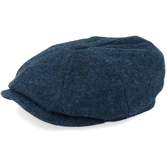 Keps Hatteras Woolrich Herringbone Fischgrat Blue Flat Cap - Stetson - Blå Flat Caps