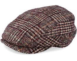 Riders Cap Wool Check Glencheck Brown Flat Cap - Stetson
