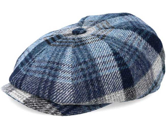 c37742fabb9b8 Hatteras Woolrich Check Grey Blue Flat Cap - Stetson caps -  Hatstoreworld.com