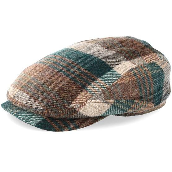 Keps Driver Cap Woolrich Check Brown/Dark Green Flat Cap - Stetson - Brun Flat Caps